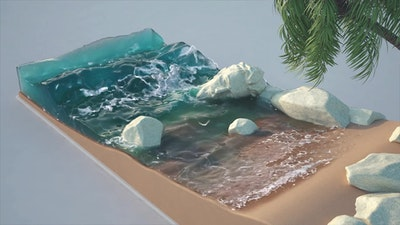 Realflow Beach Waves