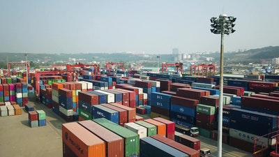 Aerial video at Container port