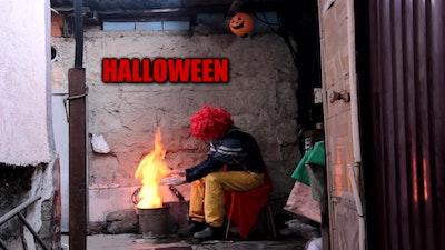 A poor clown celebrating Halloween