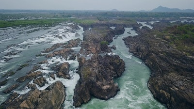 Aerial view. waterfalls in Cambodia